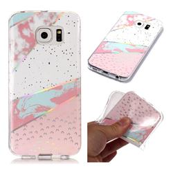 Matching Color Marble Pattern Bright Color Laser Soft TPU Case for Samsung Galaxy S6 Edge G925