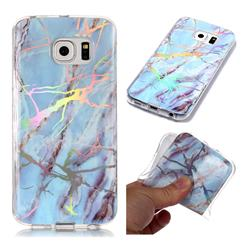 Light Blue Marble Pattern Bright Color Laser Soft TPU Case for Samsung Galaxy S6 Edge G925