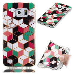 Three-dimensional Square Soft TPU Marble Pattern Phone Case for Samsung Galaxy S6 Edge G925