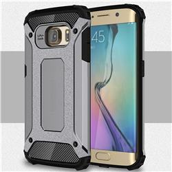 King Kong Armor Premium Shockproof Dual Layer Rugged Hard Cover for Samsung Galaxy S6 Edge G925 - Silver Grey