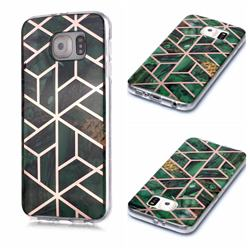 Green Rhombus Galvanized Rose Gold Marble Phone Back Cover for Samsung Galaxy S6 Edge G925