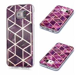 Purple Rhombus Galvanized Rose Gold Marble Phone Back Cover for Samsung Galaxy S6 Edge G925