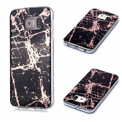Black Galvanized Rose Gold Marble Phone Back Cover for Samsung Galaxy S6 Edge G925