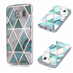 Green White Galvanized Rose Gold Marble Phone Back Cover for Samsung Galaxy S6 Edge G925