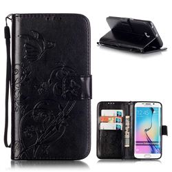 Embossing Butterfly Flower Leather Wallet Case for Samsung Galaxy S6 Edge - Black