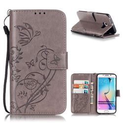 Embossing Butterfly Flower Leather Wallet Case for Samsung Galaxy S6 Edge - Grey