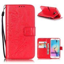 Embossing Butterfly Flower Leather Wallet Case for Samsung Galaxy S6 Edge - Red