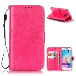 Embossing Butterfly Flower Leather Wallet Case for Samsung Galaxy S6 Edge - Rose