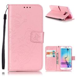 Embossing Butterfly Flower Leather Wallet Case for Samsung Galaxy S6 Edge - Pink