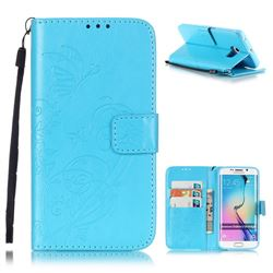 Embossing Butterfly Flower Leather Wallet Case for Samsung Galaxy S6 Edge - Blue