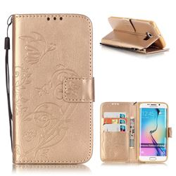 Embossing Butterfly Flower Leather Wallet Case for Samsung Galaxy S6 Edge - Champagne
