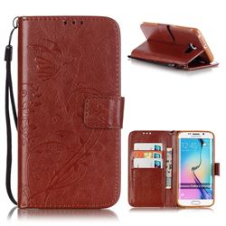 Embossing Butterfly Flower Leather Wallet Case for Samsung Galaxy S6 Edge - Brown
