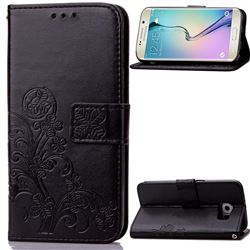 Embossing Imprint Four-Leaf Clover Leather Wallet Case for Samsung Galaxy S6 Edge - Black