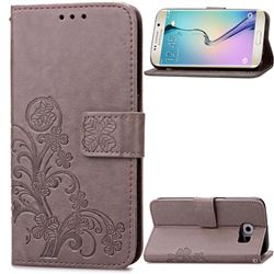 Embossing Imprint Four-Leaf Clover Leather Wallet Case for Samsung Galaxy S6 Edge - Gray