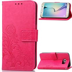 Embossing Imprint Four-Leaf Clover Leather Wallet Case for Samsung Galaxy S6 Edge - Rose
