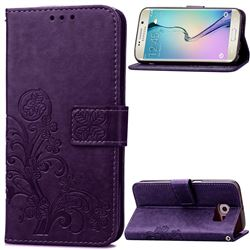 Embossing Imprint Four-Leaf Clover Leather Wallet Case for Samsung Galaxy S6 Edge - Purple