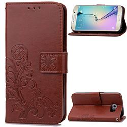 Embossing Imprint Four-Leaf Clover Leather Wallet Case for Samsung Galaxy S6 Edge - Brown