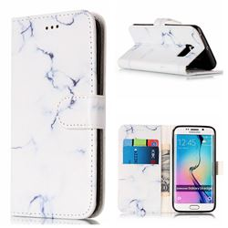 Soft White Marble PU Leather Wallet Case for Samsung Galaxy S6 Edge G925