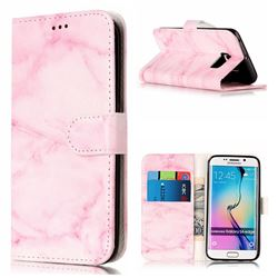 Pink Marble PU Leather Wallet Case for Samsung Galaxy S6 Edge G925