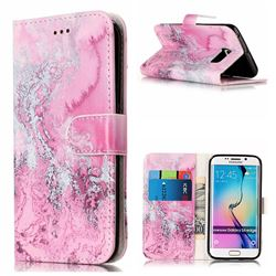 Pink Seawater PU Leather Wallet Case for Samsung Galaxy S6 Edge G925