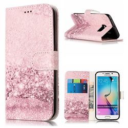 Glittering Rose Gold PU Leather Wallet Case for Samsung Galaxy S6 Edge G925