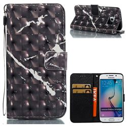 Black Marble 3D Painted Leather Wallet Case for Samsung Galaxy S6 Edge G925