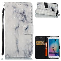 White Gray Marble 3D Painted Leather Wallet Case for Samsung Galaxy S6 Edge G925