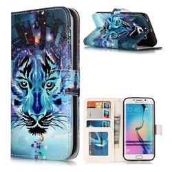 Ice Wolf 3D Relief Oil PU Leather Wallet Case for Samsung Galaxy S6 Edge G925