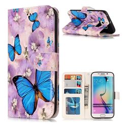 Purple Flowers Butterfly 3D Relief Oil PU Leather Wallet Case for Samsung Galaxy S6 Edge G925