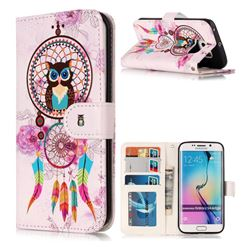 Wind Chimes Owl 3D Relief Oil PU Leather Wallet Case for Samsung Galaxy S6 Edge G925
