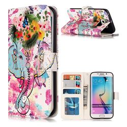 Flower Elephant 3D Relief Oil PU Leather Wallet Case for Samsung Galaxy S6 Edge G925