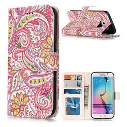 Pepper Flowers 3D Relief Oil PU Leather Wallet Case for Samsung Galaxy S6 Edge G925