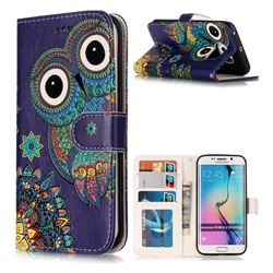 Folk Owl 3D Relief Oil PU Leather Wallet Case for Samsung Galaxy S6 Edge G925