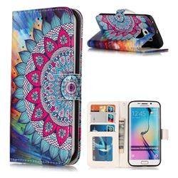 Mandala Flower 3D Relief Oil PU Leather Wallet Case for Samsung Galaxy S6 Edge G925