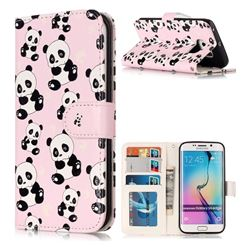 Cute Panda 3D Relief Oil PU Leather Wallet Case for Samsung Galaxy S6 Edge G925