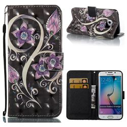 Peacock Flower 3D Painted Leather Wallet Case for Samsung Galaxy S6 Edge G925