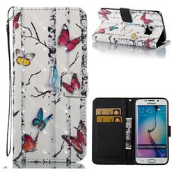 Colored Butterflies 3D Painted Leather Wallet Case for Samsung Galaxy S6 Edge G925