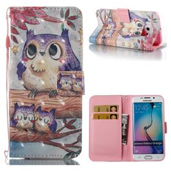 Purple Owl 3D Painted Leather Wallet Case for Samsung Galaxy S6 Edge G925