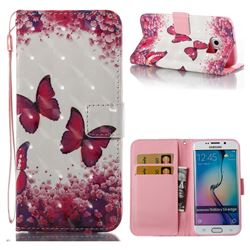Rose Butterfly 3D Painted Leather Wallet Case for Samsung Galaxy S6 Edge G925