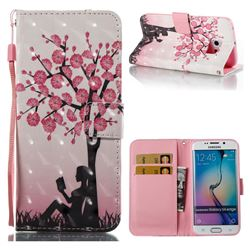 Plum Girl 3D Painted Leather Wallet Case for Samsung Galaxy S6 Edge G925