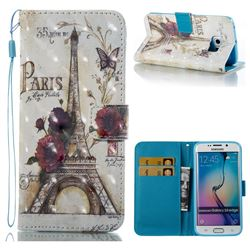Flower Eiffel Tower 3D Painted Leather Wallet Case for Samsung Galaxy S6 Edge G925