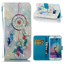 Feather Wind Chimes 3D Painted Leather Wallet Case for Samsung Galaxy S6 Edge G925