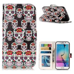 Flower Skull 3D Relief Oil PU Leather Wallet Case for Samsung Galaxy S6 Edge G925