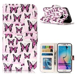 Butterflies Stickers 3D Relief Oil PU Leather Wallet Case for Samsung Galaxy S6 Edge G925