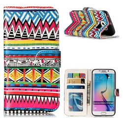 Tribal Pattern 3D Relief Oil PU Leather Wallet Case for Samsung Galaxy S6 Edge G925