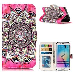 Rose Mandala 3D Relief Oil PU Leather Wallet Case for Samsung Galaxy S6 Edge G925