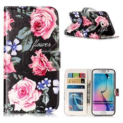 Peony 3D Relief Oil PU Leather Wallet Case for Samsung Galaxy S6 Edge G925