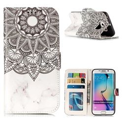 Marble Mandala 3D Relief Oil PU Leather Wallet Case for Samsung Galaxy S6 Edge G925