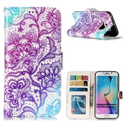 Purple Lotus 3D Relief Oil PU Leather Wallet Case for Samsung Galaxy S6 Edge G925