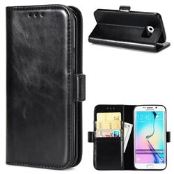 Luxury Crazy Horse PU Leather Wallet Case for Samsung Galaxy S6 Edge G925 - Black